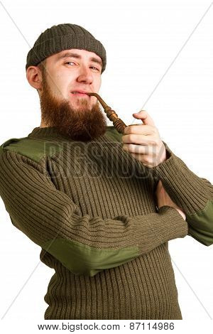 Bearded Guy Smoking A Pipe