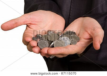 Man's Hand Holding  Silver Coins