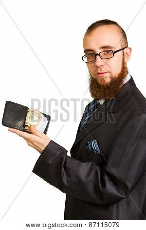 Businessman In Glasses Holding Dollars