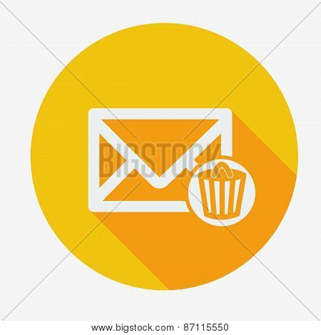 Mail icon, envelope with trash can. Flat design vector illustration.
