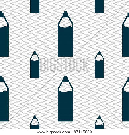 Plastic Bottle With Drink Icon Sign. Seamless Pattern With Geometric Texture. Vector
