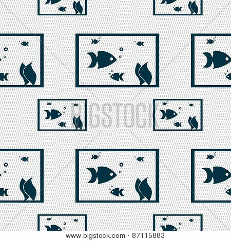 Aquarium, Fish In Water Icon Sign. Seamless Pattern With Geometric Texture. Vector