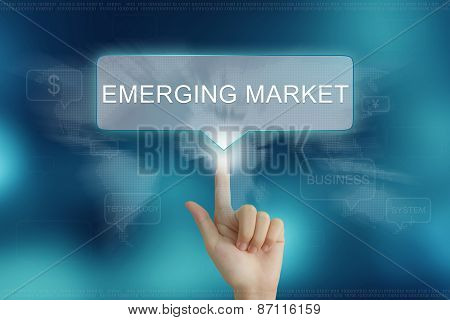 Hand Clicking On Emerging Market Button
