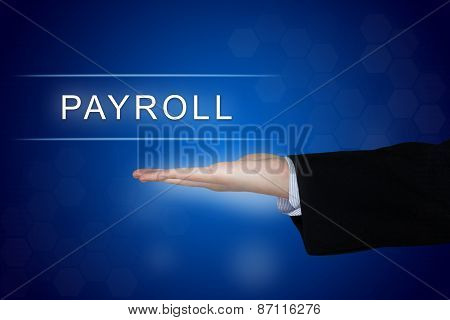 Payroll Button On Blue Background