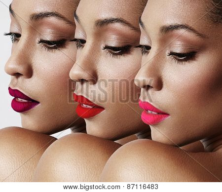 Beauty Woman With A Bright Lips Collage