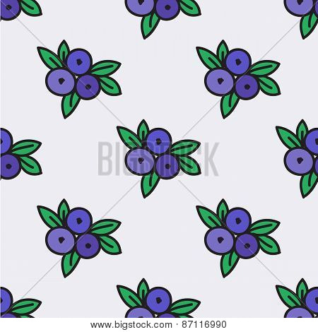 Seamless hand-drawn pattern with blueberry. Vector illustration.