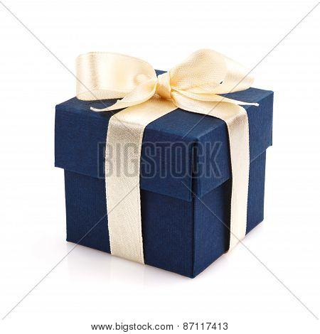 Single dark blue gift box