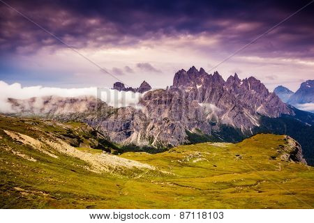 Great view of the Cadini di Misurina range and Sorapis group in National Park Tre Cime di Lavaredo. Dolomites, South Tyrol. Location Auronzo, Italy, Europe. Dramatic overcast sky. Beauty world.