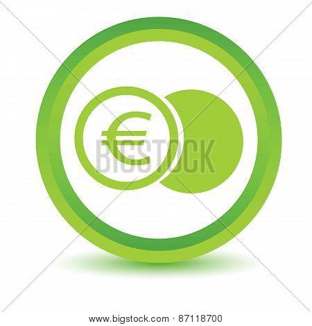 Green euro coin icon