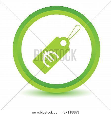 Green euro tag icon