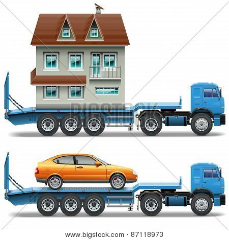 Vector Trailer With House And Car