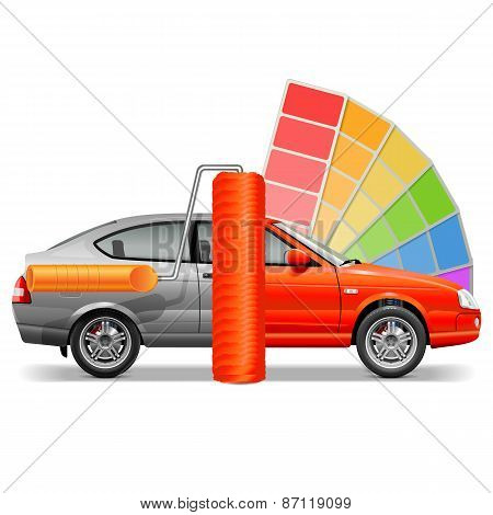 Vector Car With Paint Brush