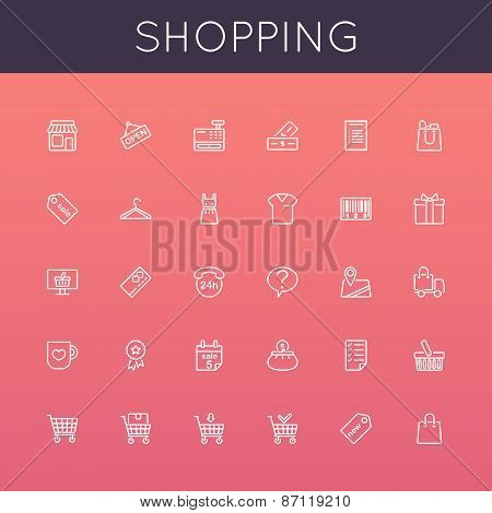 Vector Shopping Line Icons