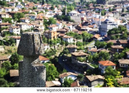 View of Old Ottoman Houses behind an historic grave In Safranbolu, Karabuk, Turkey