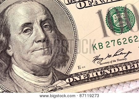 Dollars Closeup. Benjamin Franklin Portrait On One Hundred Dollar Bill