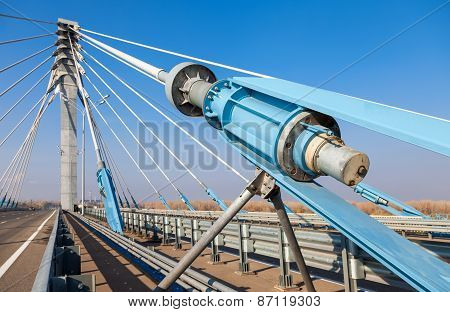 Cable Bridge Across The Samara River In Kirovsky District Of Samara City, Russia