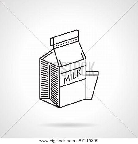 Milk carton black line vector icon