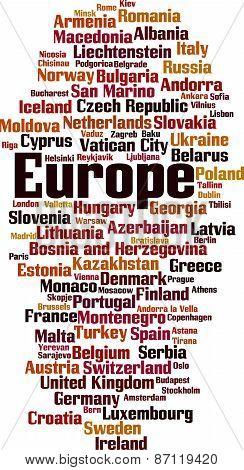 Countries In Europe Word Cloud