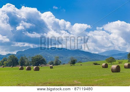 Round Bales Of Hay On Farmland With The Pyrenees Backdrop