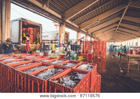 Phuket - March 10 : Burmese People Are Working In Fish Market At Phuket Province, Which Mostly Labor