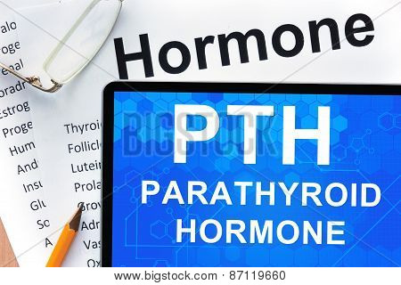 Papers with hormones list and tablet  with words parathyroid hormone (PTH) .