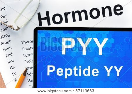 Papers with hormones list and tablet  with words peptide YY (PYY) .
