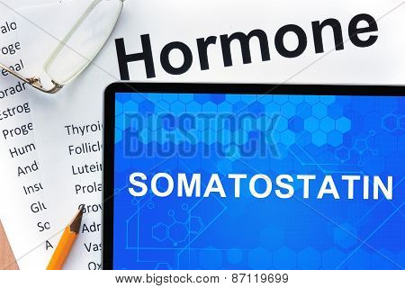 Papers with hormones list and tablet  with word Somatostatin.