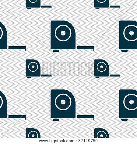 Roulette Construction Icon Sign. Seamless Pattern With Geometric Texture. Vector
