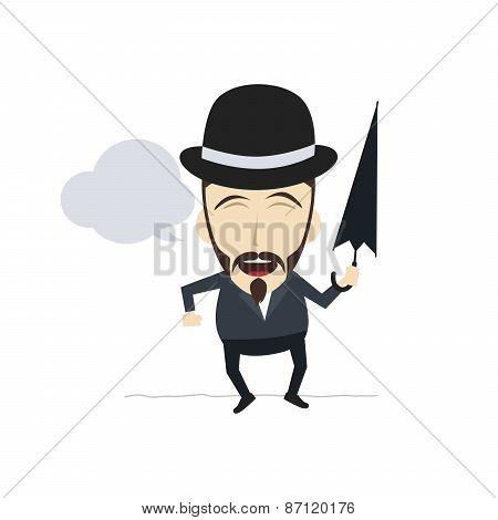 funny guy with umbrella