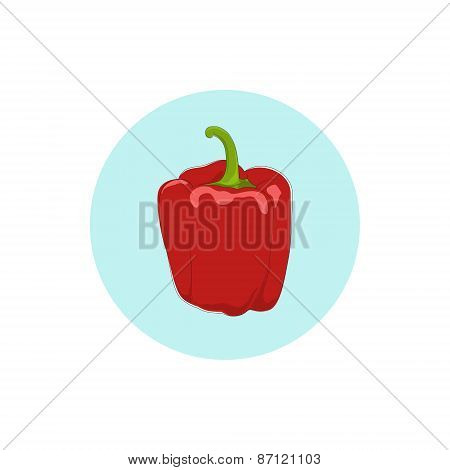 Icon red bell pepper,sweet pepper or capsicum