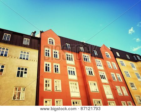 Facades Of Colorful Buildings In Stockholm