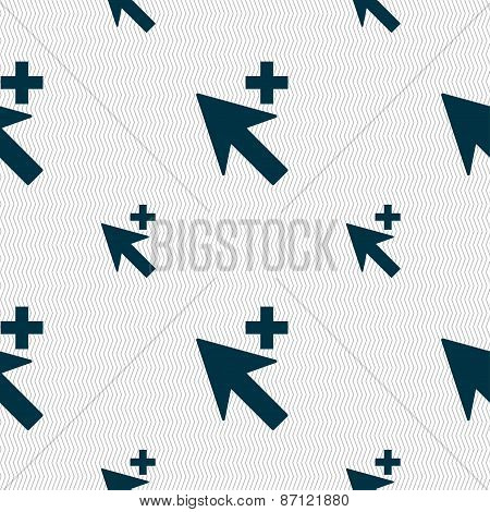 Cursor, Arrow Plus, Add Icon Sign. Seamless Pattern With Geometric Texture. Vector