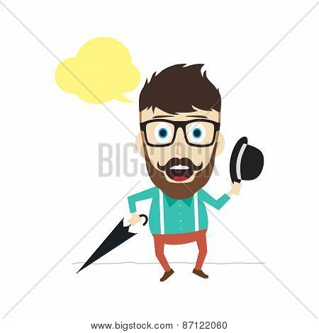 fun guy with umbrella and bowl hat