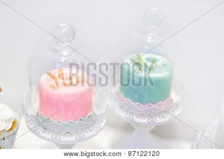 Wedding Cakes In Cream And Pink With Pearls.