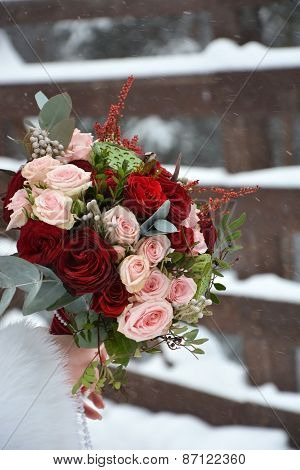 The Bride's Bouquet With Different Roses. Winter Season