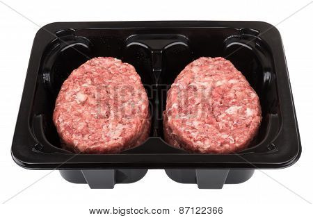 Box With Raw Meatballs Of Ground Beef