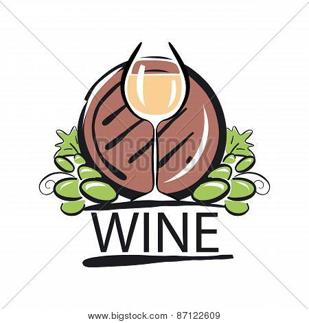 Vector Icon White Wine Barrel And The Vine
