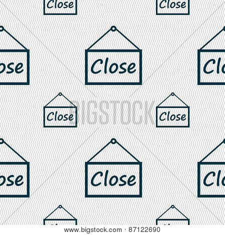 Close Icon Sign. Seamless Pattern With Geometric Texture. Vector