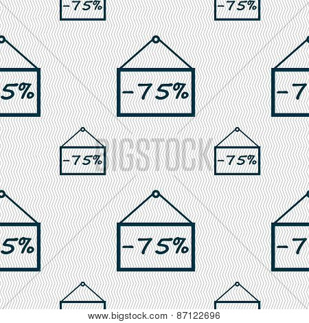 75 Discount Icon Sign. Seamless Pattern With Geometric Texture. Vector