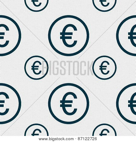 Euro Icon Sign. Seamless Pattern With Geometric Texture. Vector
