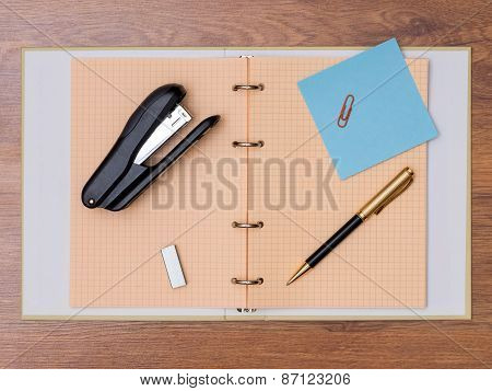 Stationery on the table