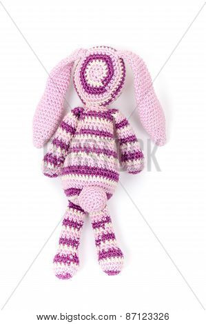 Knitted Rabbit Toy Isolated On White With Soft Shadow