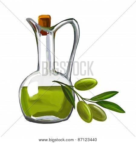 olive oil with olives vector illustration  painted watercolor