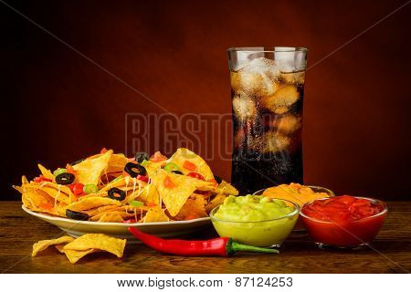 Nachos Plate, Dip And Cola Drink