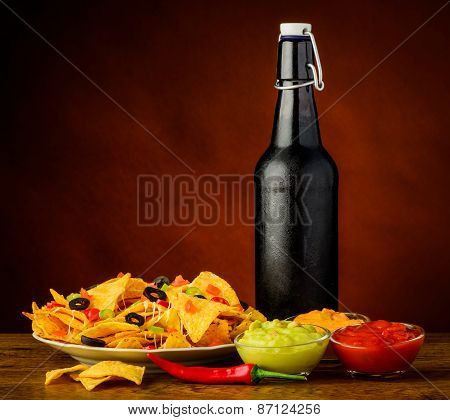 Tortilla Chips, Dip And Beer