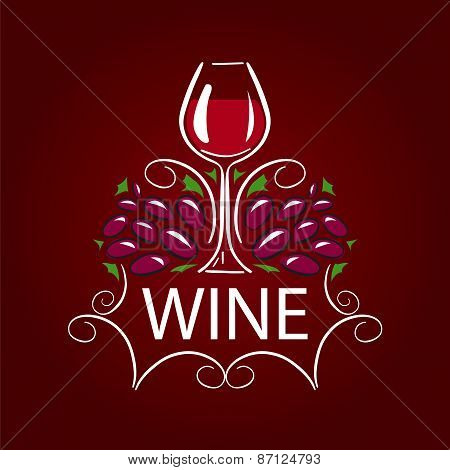 Vector Icon Glass Of Wine And Grapes On Burgundy Background