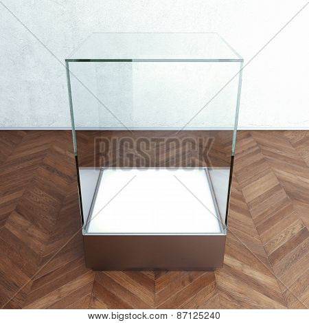 Empty glass showcase for exhibit. 3d rendering