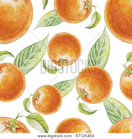 Watercolor seamless pattern of orange fruit with leafs. Vector illustration of citrus orange fruits.