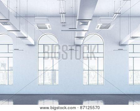Loft interior with windows. 3d rendering