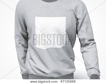 grey sweatshirt with blank square